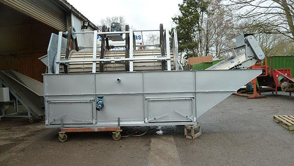 Peter Cox 10 tph barrel washer, new steel tank, stainless barrel.